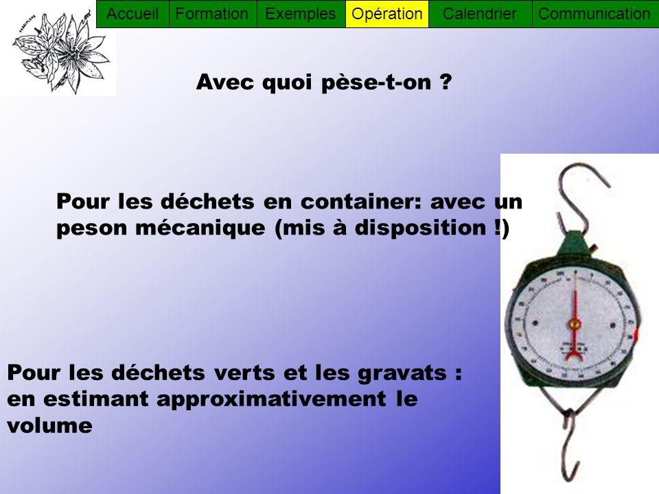 Avec quoi pèse-t-on ? Pour les déchets verts et les gravats : en estimant approximativement le volume Pour les déchets en container: avec un peson méc