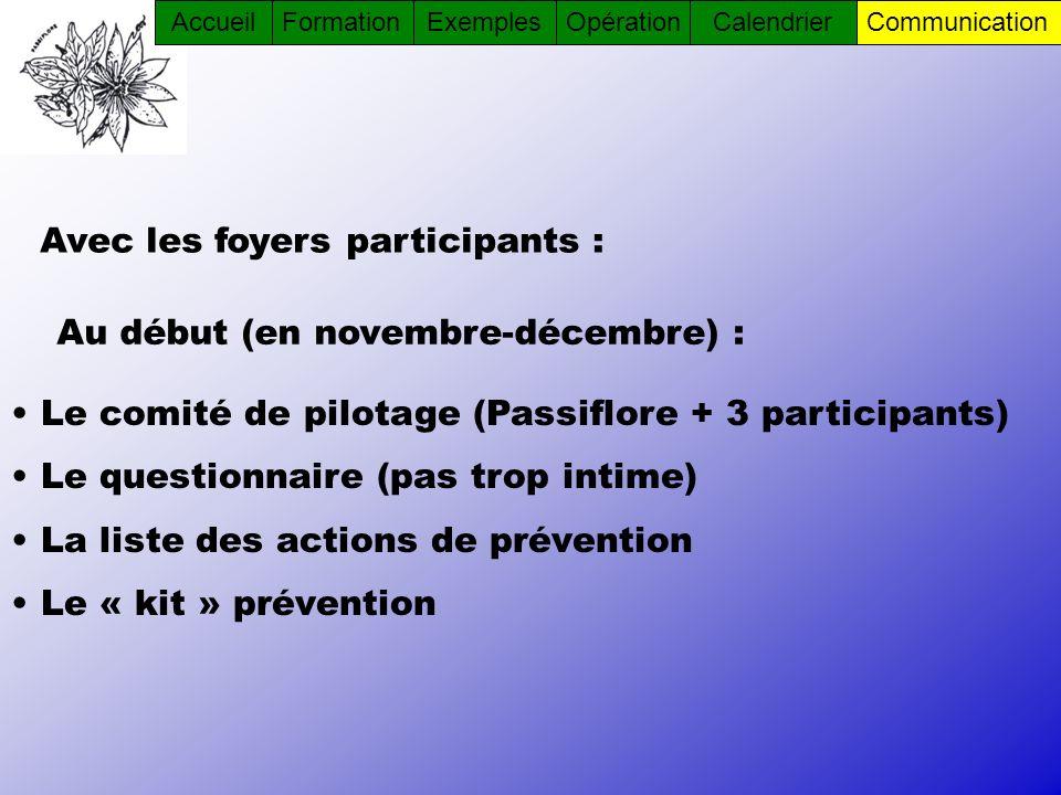 Avec les foyers participants : Le comité de pilotage (Passiflore + 3 participants) Le questionnaire (pas trop intime) La liste des actions de préventi