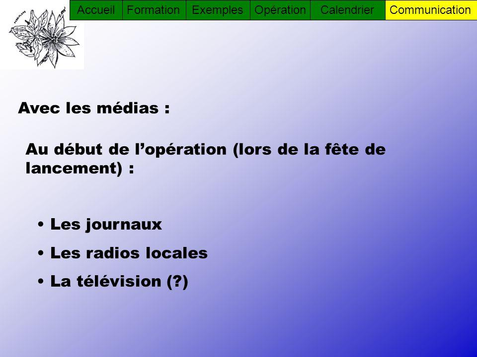 Avec les médias : Les journaux Les radios locales La télévision (?) Au début de lopération (lors de la fête de lancement) : AccueilFormationOpérationC