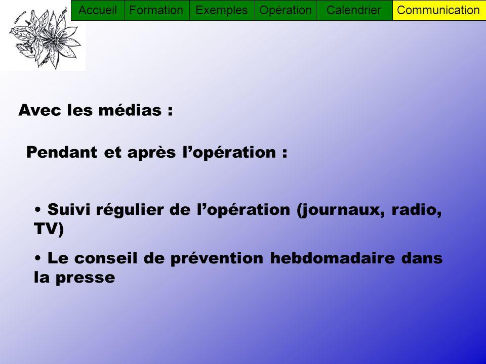 Avec les médias : Suivi régulier de lopération (journaux, radio, TV) Le conseil de prévention hebdomadaire dans la presse Pendant et après lopération