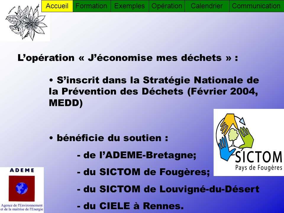 Lopération « Jéconomise mes déchets » : Sinscrit dans la Stratégie Nationale de la Prévention des Déchets (Février 2004, MEDD) bénéficie du soutien :