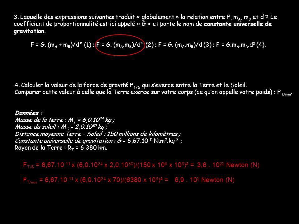 3. Laquelle des expressions suivantes traduit « globalement » la relation entre F, m A, m B et d ? Le coefficient de proportionnalité est ici appelé «