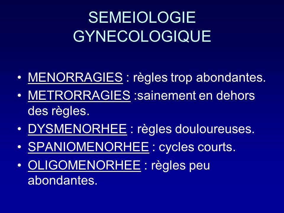 SEMEIOLOGIE GYNECOLOGIQUE MENORRAGIES : règles trop abondantes. METRORRAGIES :sainement en dehors des règles. DYSMENORHEE : règles douloureuses. SPANI