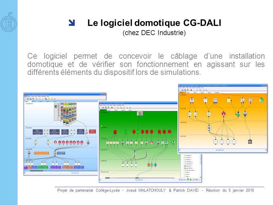 Projet de partenariat Collège-Lycée - Josué MALATCHOULY & Patrick DAVID - Réunion du 5 janvier 2010 Le logiciel domotique CG-DALI (chez DEC Industrie)