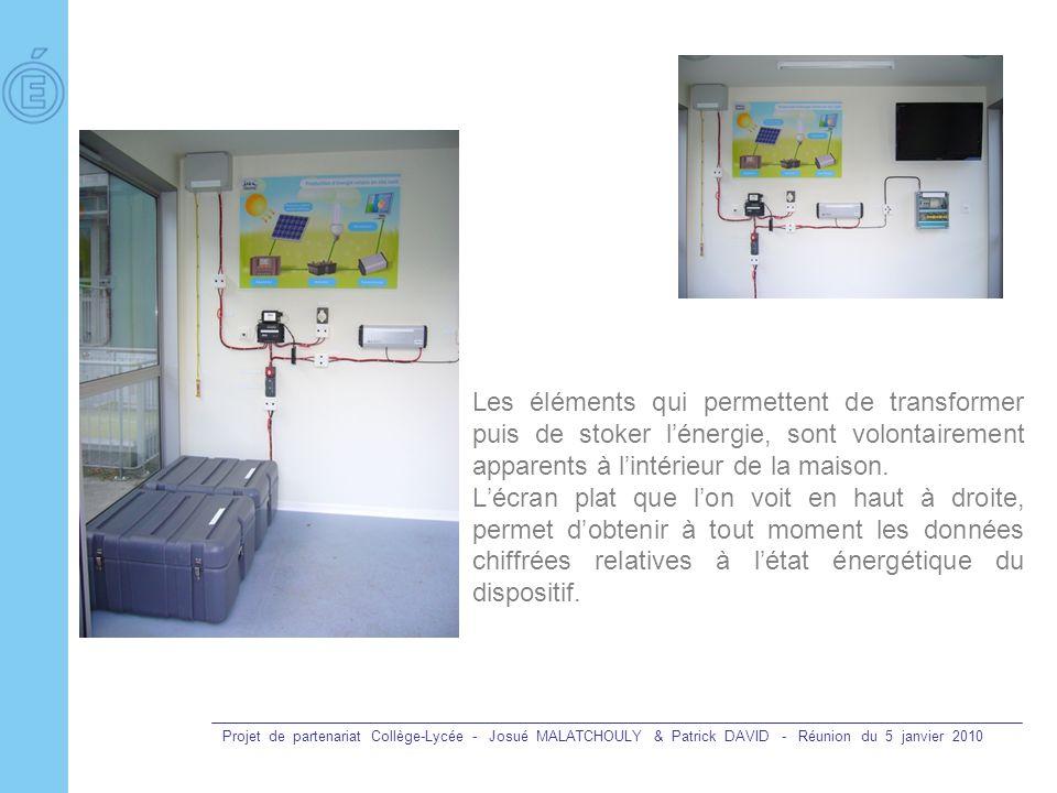 Projet de partenariat Collège-Lycée - Josué MALATCHOULY & Patrick DAVID - Réunion du 5 janvier 2010 Les éléments qui permettent de transformer puis de