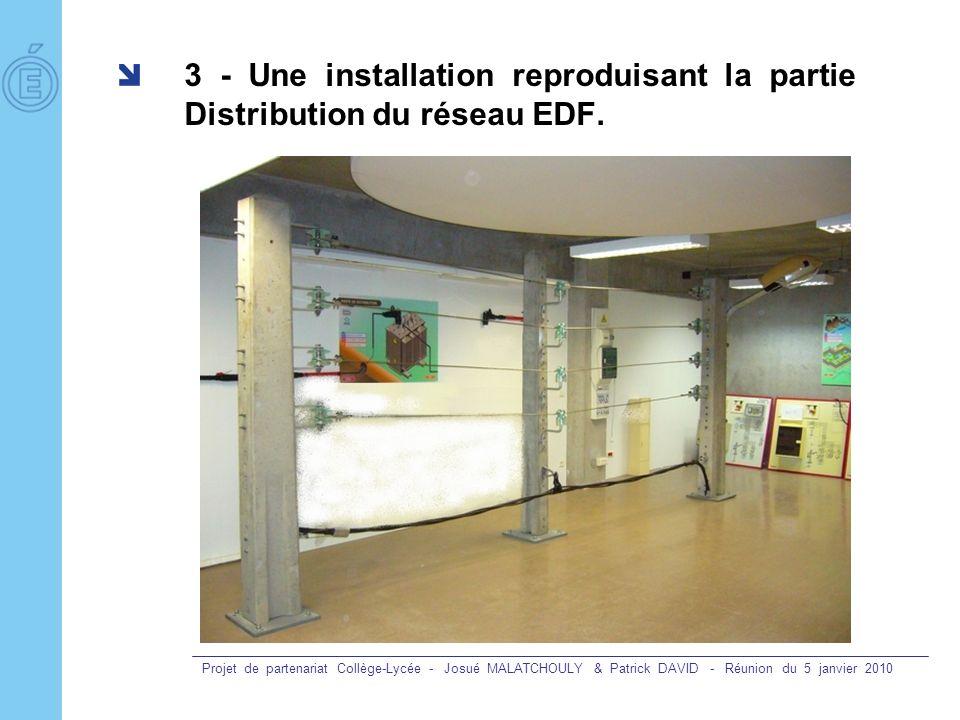 Projet de partenariat Collège-Lycée - Josué MALATCHOULY & Patrick DAVID - Réunion du 5 janvier 2010 3 - Une installation reproduisant la partie Distri