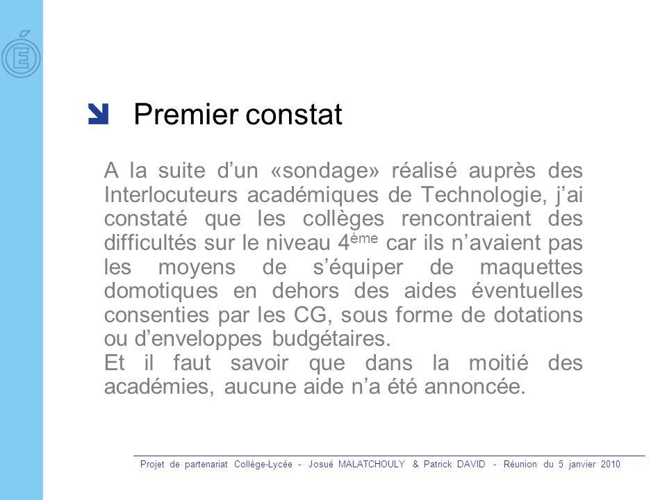 Projet de partenariat Collège-Lycée - Josué MALATCHOULY & Patrick DAVID - Réunion du 5 janvier 2010 Premier constat A la suite dun «sondage» réalisé a