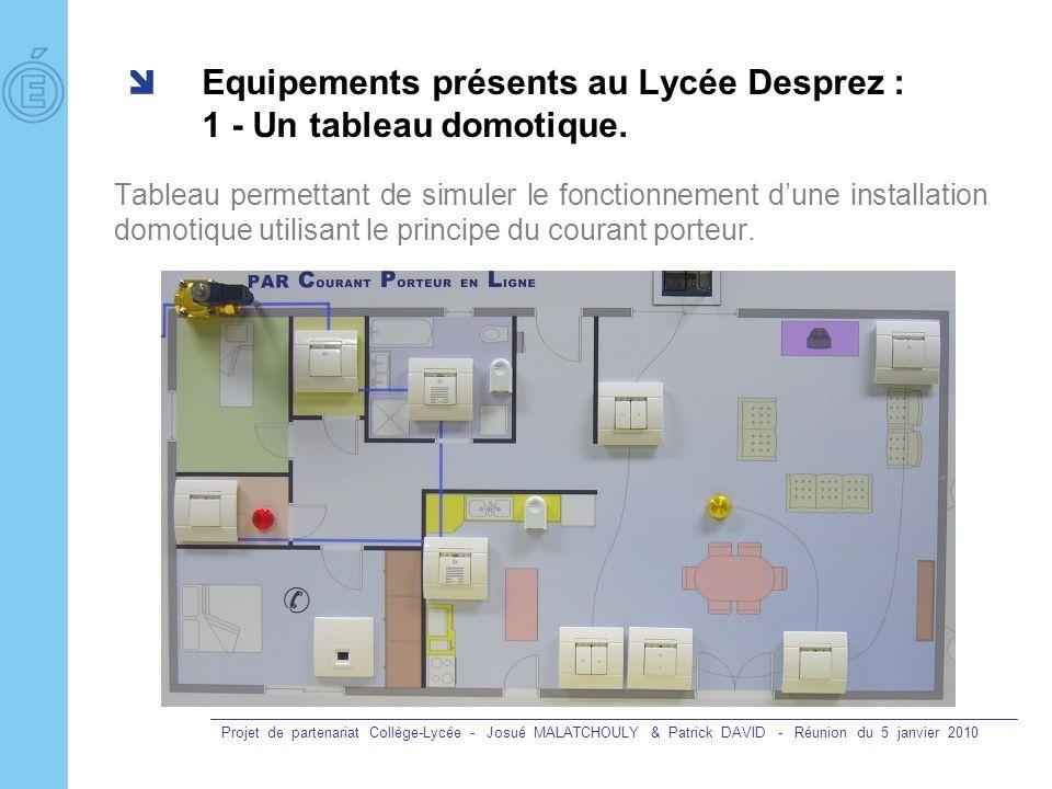 Projet de partenariat Collège-Lycée - Josué MALATCHOULY & Patrick DAVID - Réunion du 5 janvier 2010 Equipements présents au Lycée Desprez : 1 - Un tab