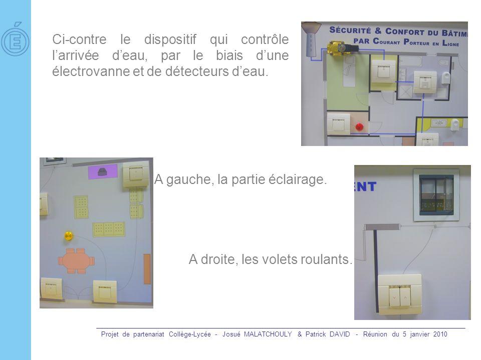 Projet de partenariat Collège-Lycée - Josué MALATCHOULY & Patrick DAVID - Réunion du 5 janvier 2010 Ci-contre le dispositif qui contrôle larrivée deau