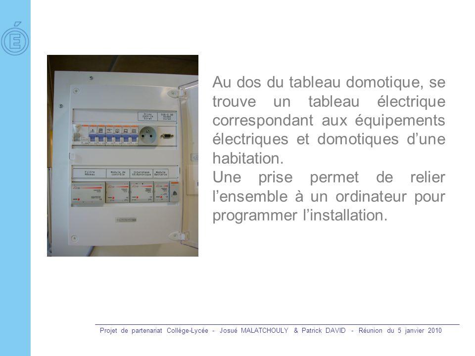 Projet de partenariat Collège-Lycée - Josué MALATCHOULY & Patrick DAVID - Réunion du 5 janvier 2010 Au dos du tableau domotique, se trouve un tableau