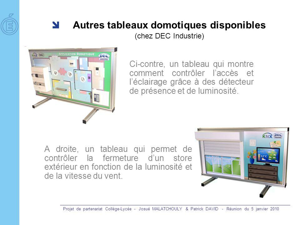Projet de partenariat Collège-Lycée - Josué MALATCHOULY & Patrick DAVID - Réunion du 5 janvier 2010 Autres tableaux domotiques disponibles (chez DEC I