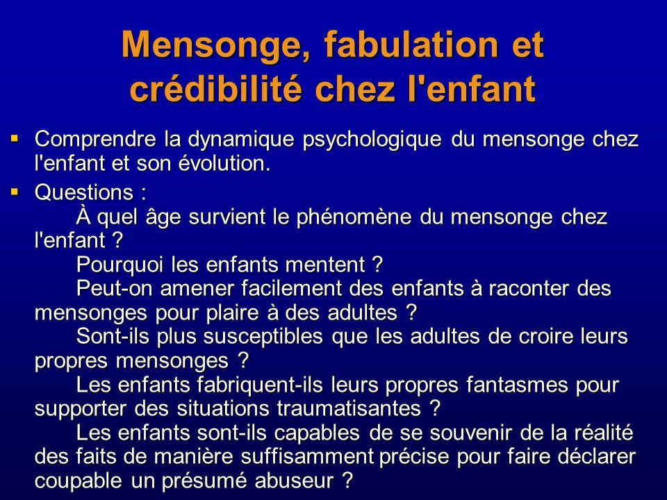Mensonge, fabulation et crédibilité chez l'enfant Comprendre la dynamique psychologique du mensonge chez l'enfant et son évolution. Comprendre la dyna