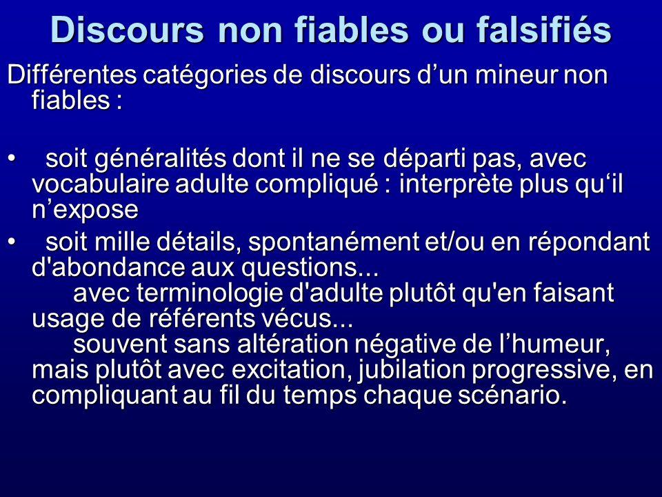 Discours non fiables ou falsifiés Différentes catégories de discours dun mineur non fiables : soit généralités dont il ne se départi pas, avec vocabul