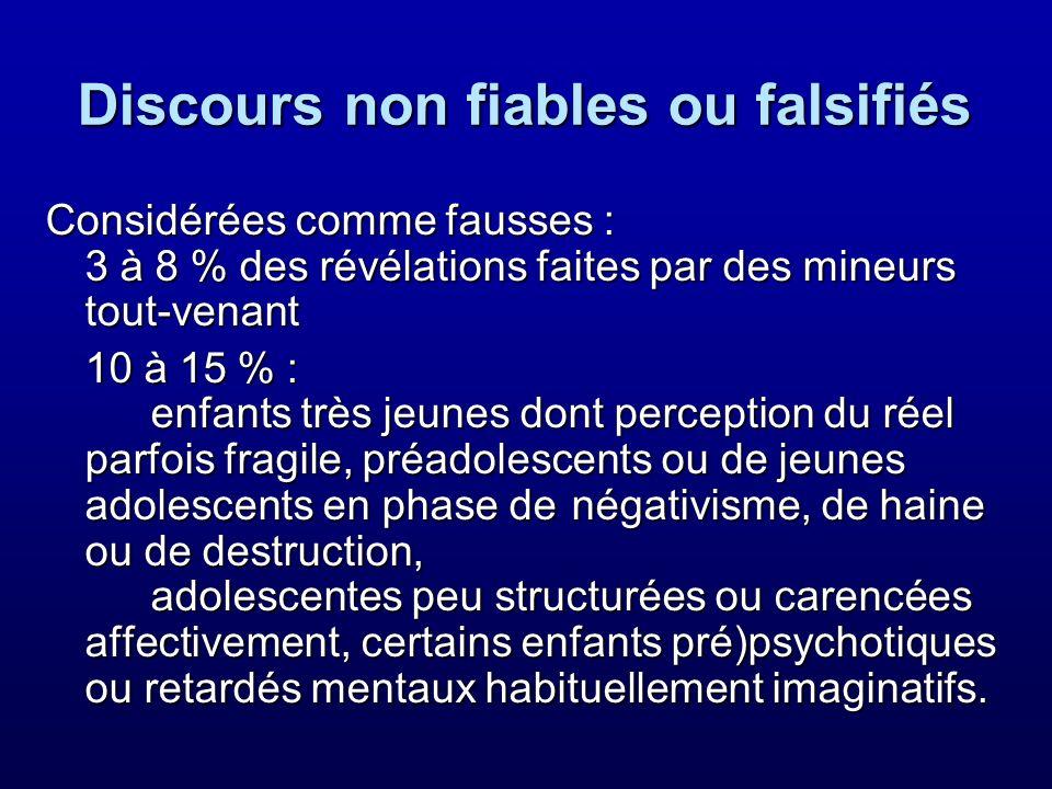 Discours non fiables ou falsifiés Considérées comme fausses : 3 à 8 % des révélations faites par des mineurs tout-venant 10 à 15 % : enfants très jeun
