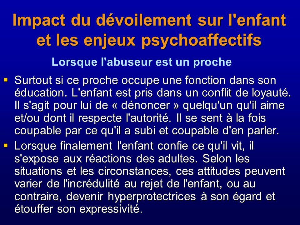 Impact du dévoilement sur l'enfant et les enjeux psychoaffectifs Surtout si ce proche occupe une fonction dans son éducation. L'enfant est pris dans u