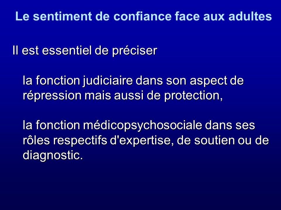 Il est essentiel de préciser la fonction judiciaire dans son aspect de répression mais aussi de protection, la fonction médicopsychosociale dans ses r
