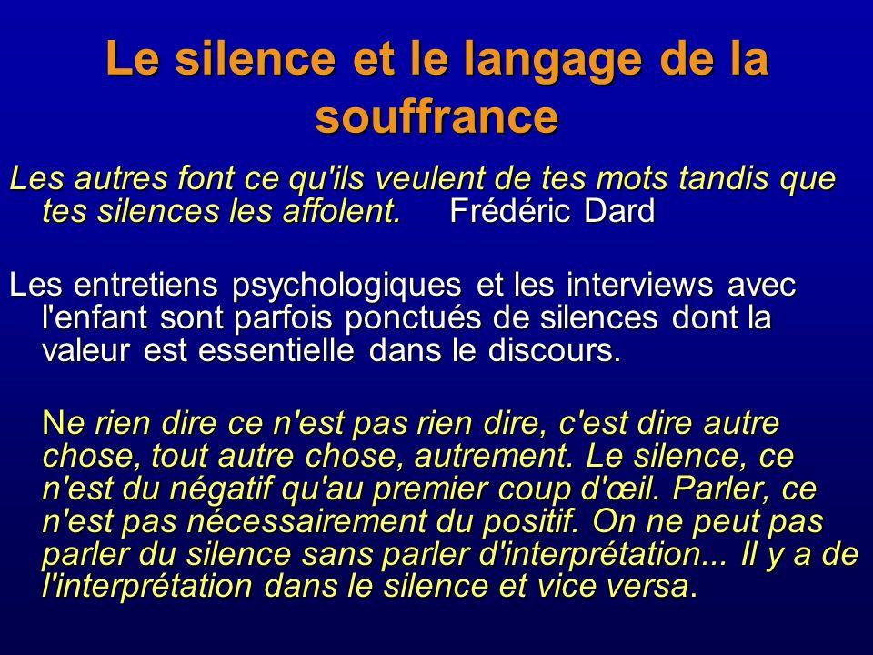 Le silence et le langage de la souffrance Les autres font ce qu'ils veulent de tes mots tandis que tes silences les affolent. Frédéric Dard Les autres