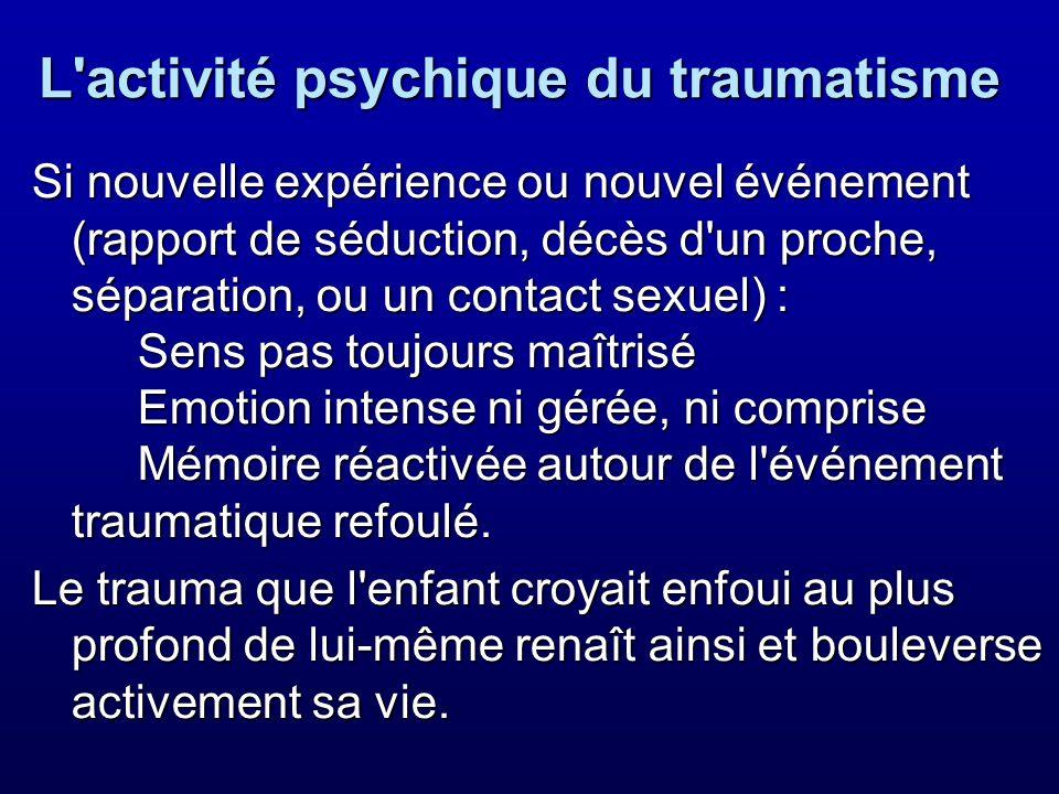 L'activité psychique du traumatisme Si nouvelle expérience ou nouvel événement (rapport de séduction, décès d'un proche, séparation, ou un contact sex