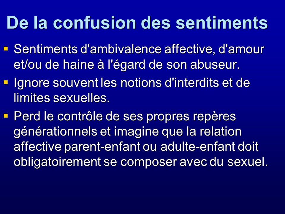 De la confusion des sentiments Sentiments d'ambivalence affective, d'amour et/ou de haine à l'égard de son abuseur. Sentiments d'ambivalence affective
