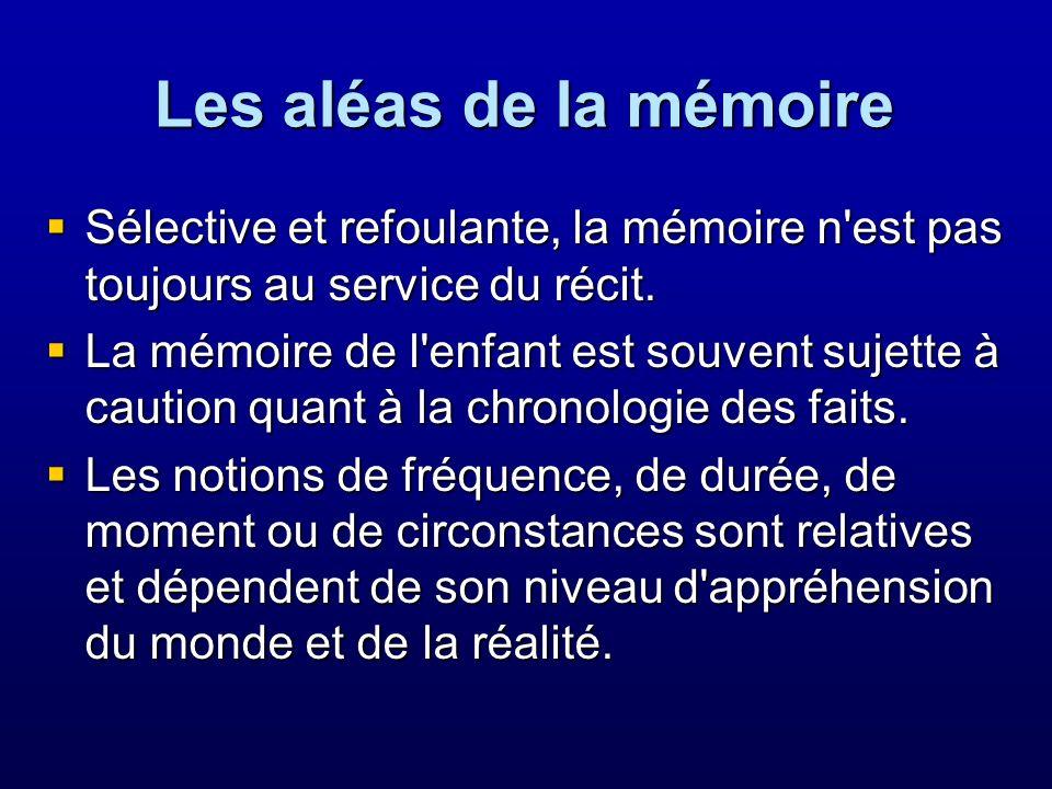 Les aléas de la mémoire Sélective et refoulante, la mémoire n'est pas toujours au service du récit. Sélective et refoulante, la mémoire n'est pas touj