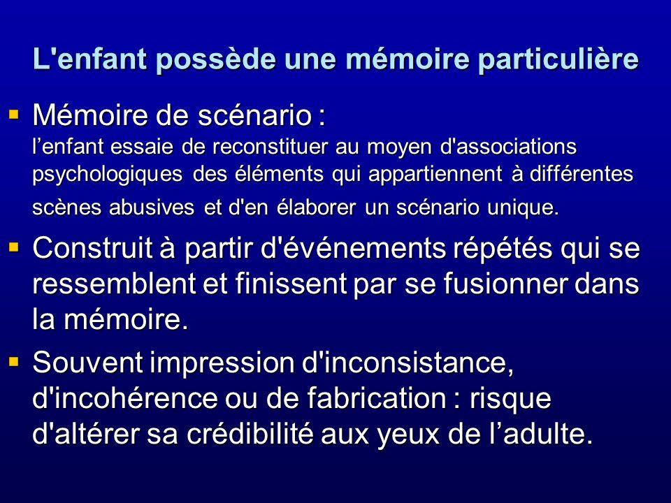 L'enfant possède une mémoire particulière Mémoire de scénario : lenfant essaie de reconstituer au moyen d'associations psychologiques des éléments qui