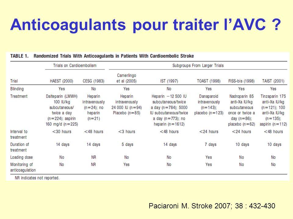 Anticoagulants pour traiter lAVC ? Paciaroni M. Stroke 2007; 38 : 432-430