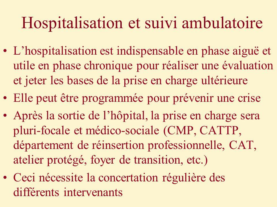 Hospitalisation et suivi ambulatoire Lhospitalisation est indispensable en phase aiguë et utile en phase chronique pour réaliser une évaluation et jet