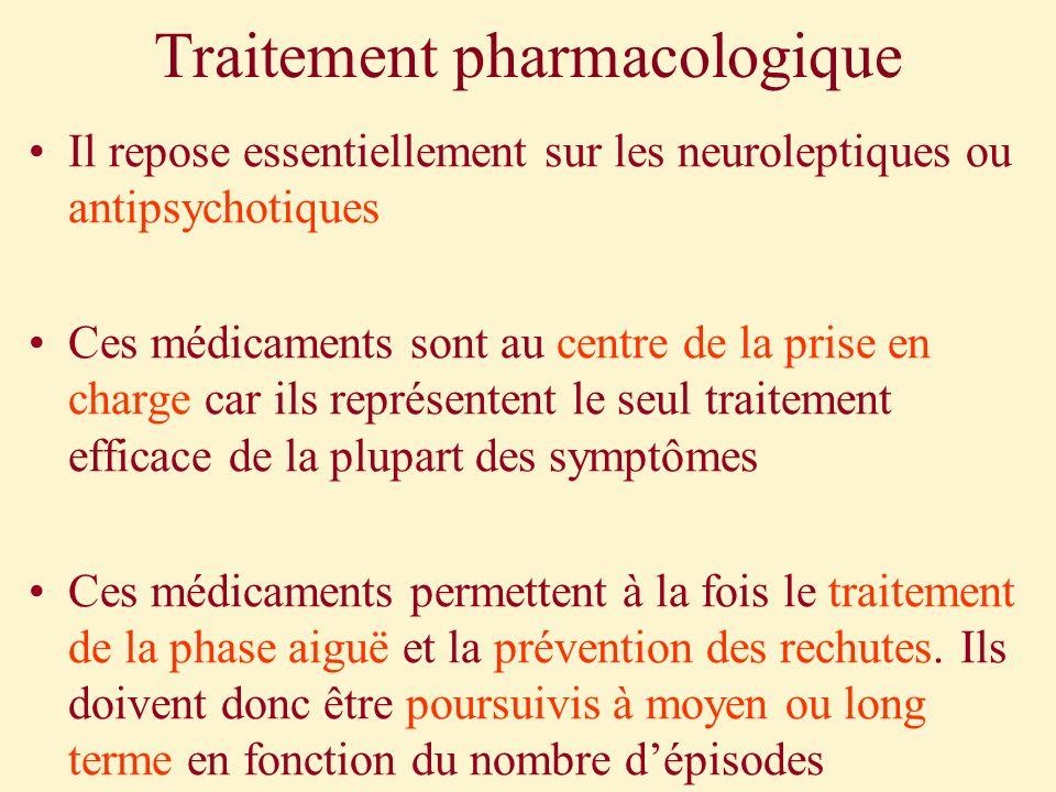 Traitement pharmacologique Il repose essentiellement sur les neuroleptiques ou antipsychotiques Ces médicaments sont au centre de la prise en charge c