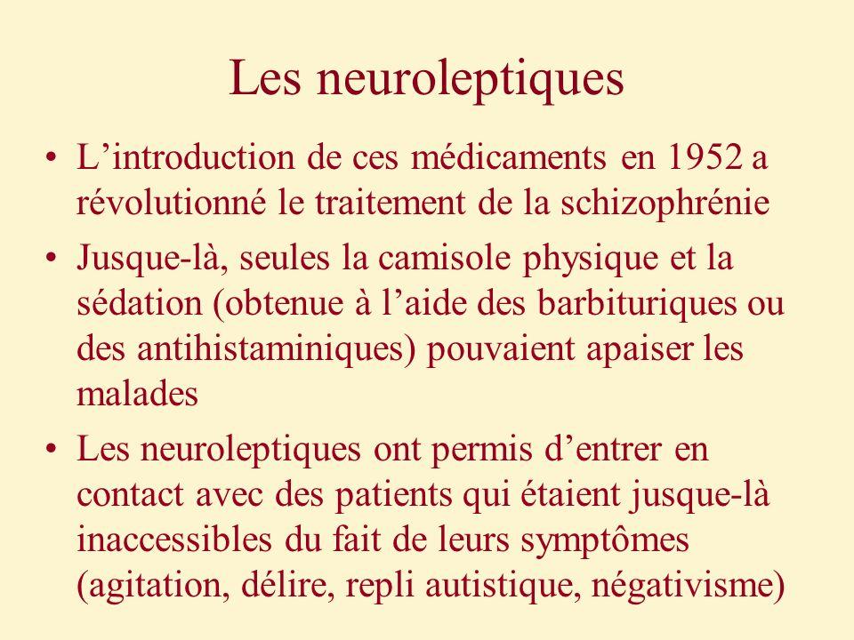 Les neuroleptiques Lintroduction de ces médicaments en 1952 a révolutionné le traitement de la schizophrénie Jusque-là, seules la camisole physique et