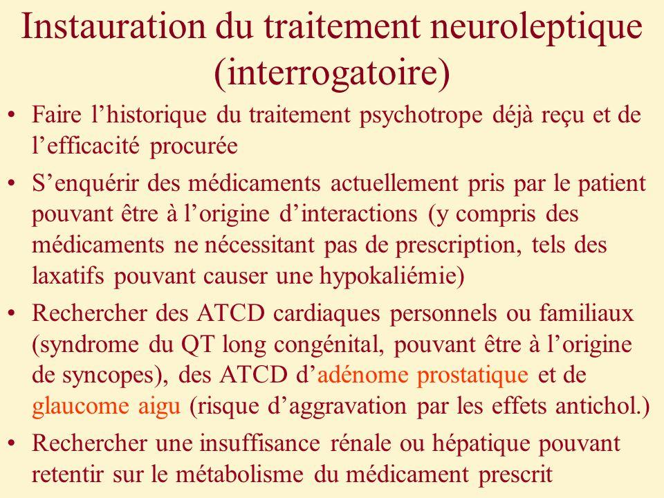 Instauration du traitement neuroleptique (interrogatoire) Faire lhistorique du traitement psychotrope déjà reçu et de lefficacité procurée Senquérir d
