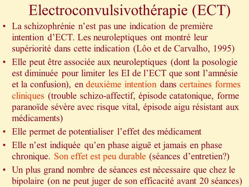 Electroconvulsivothérapie (ECT) La schizophrénie nest pas une indication de première intention dECT. Les neuroleptiques ont montré leur supériorité da