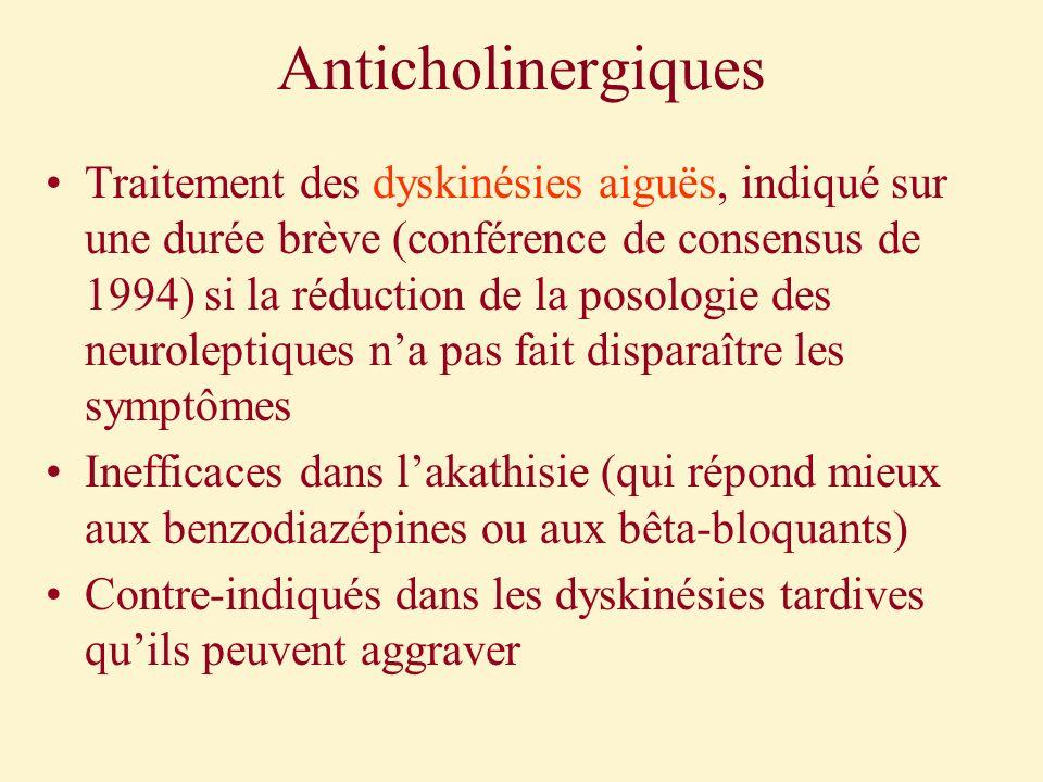 Anticholinergiques Traitement des dyskinésies aiguës, indiqué sur une durée brève (conférence de consensus de 1994) si la réduction de la posologie de