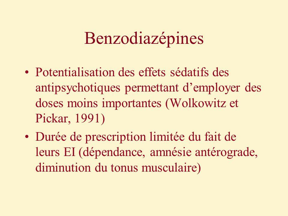 Benzodiazépines Potentialisation des effets sédatifs des antipsychotiques permettant demployer des doses moins importantes (Wolkowitz et Pickar, 1991)