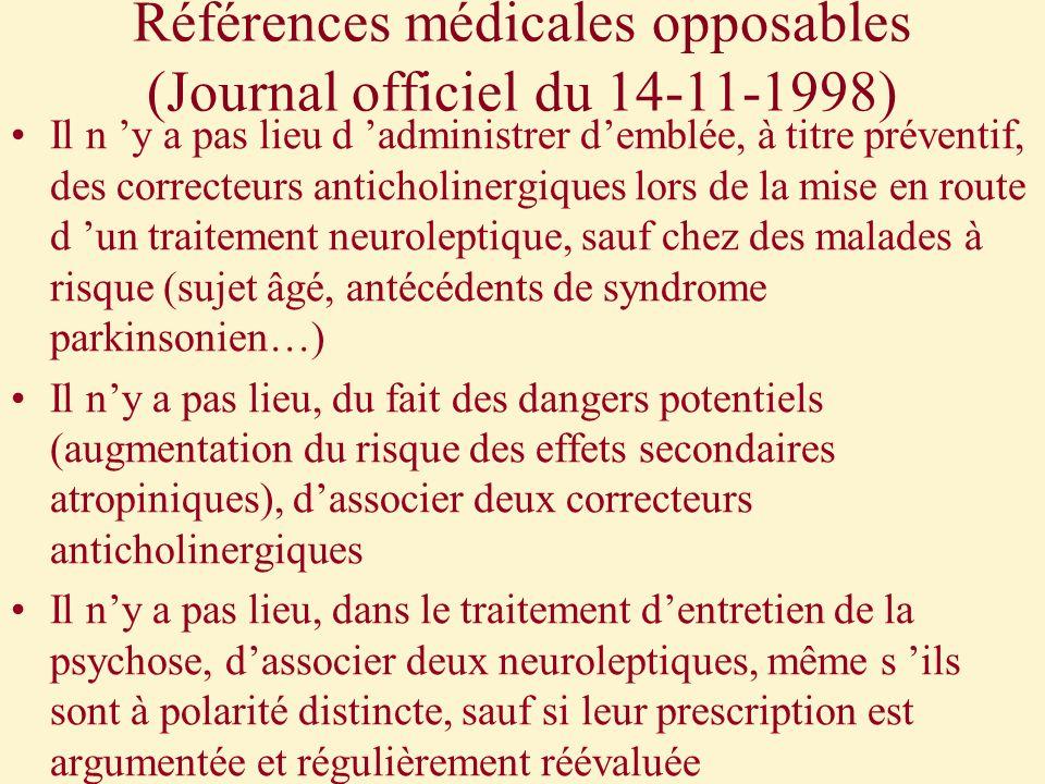 Références médicales opposables (Journal officiel du 14-11-1998) Il n y a pas lieu d administrer demblée, à titre préventif, des correcteurs anticholi