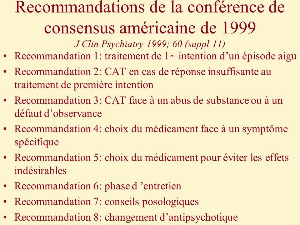 Recommandations de la conférence de consensus américaine de 1999 J Clin Psychiatry 1999; 60 (suppl 11) Recommandation 1: traitement de 1 ère intention