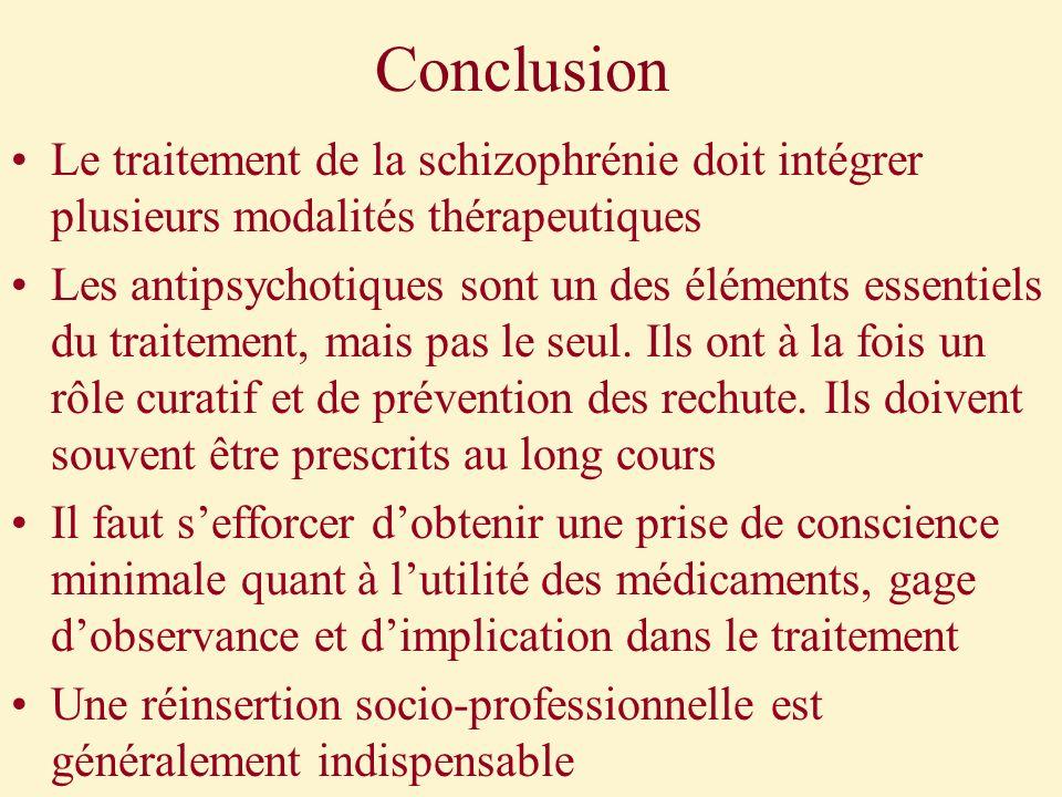 Conclusion Le traitement de la schizophrénie doit intégrer plusieurs modalités thérapeutiques Les antipsychotiques sont un des éléments essentiels du