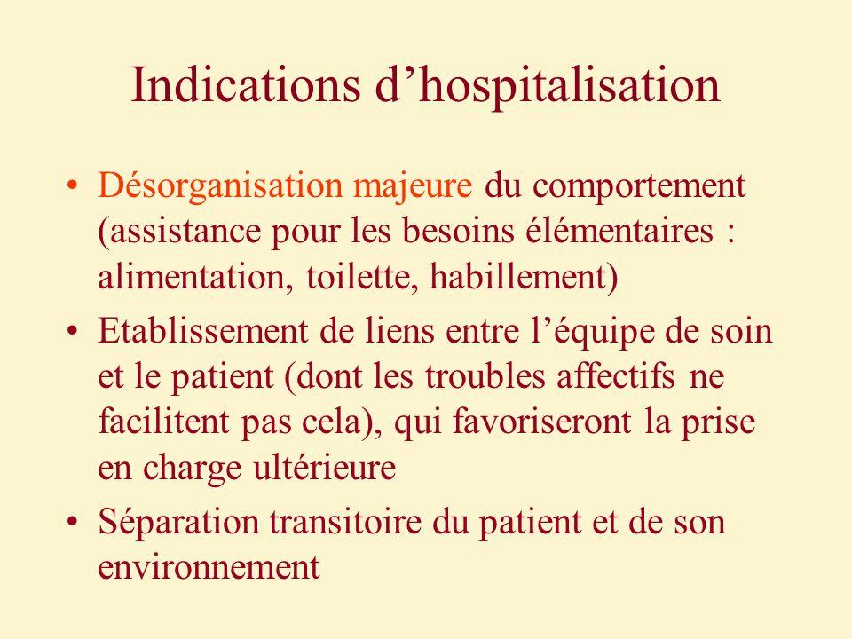 Indications dhospitalisation Désorganisation majeure du comportement (assistance pour les besoins élémentaires : alimentation, toilette, habillement)
