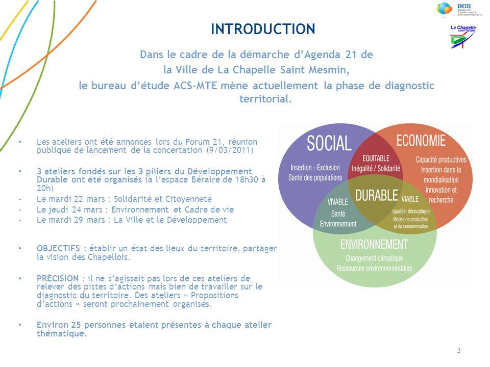 Les ateliers ont été annoncés lors du Forum 21, réunion publique de lancement de la concertation (9/03/2011) 3 ateliers fondés sur les 3 piliers du Dé