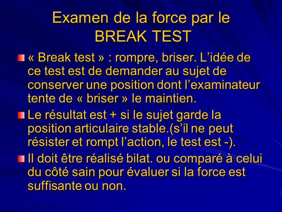 Examen de la force par le BREAK TEST « Break test » : rompre, briser. Lidée de ce test est de demander au sujet de conserver une position dont lexamin