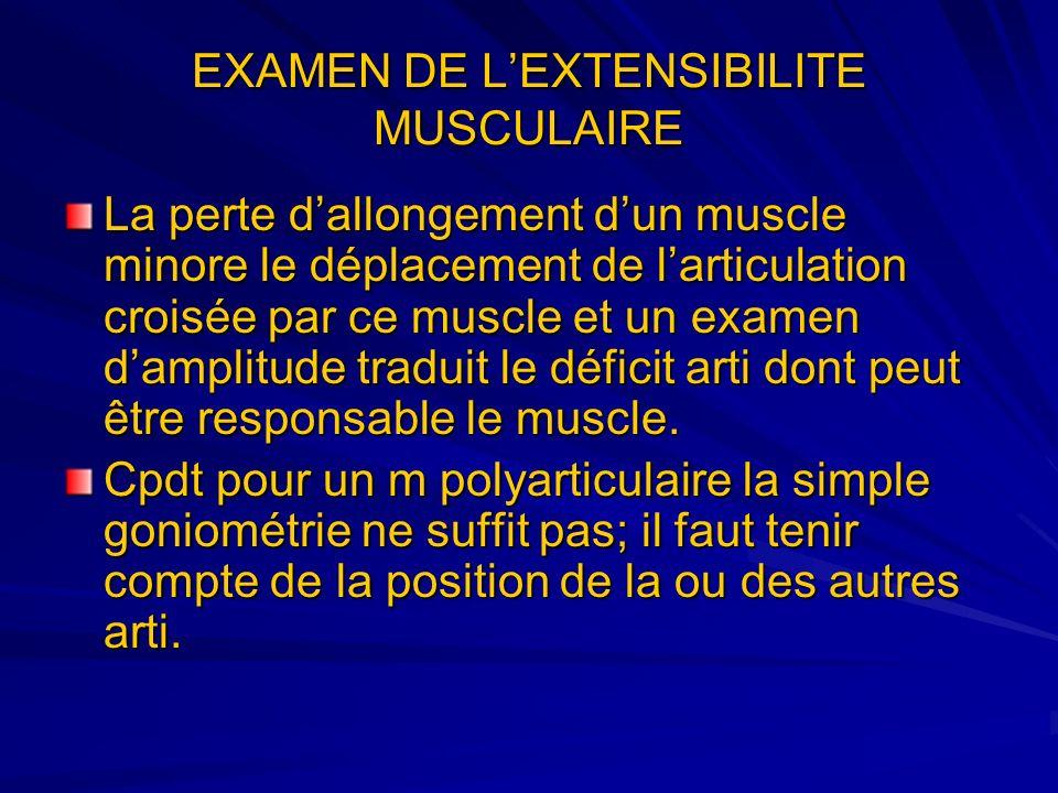 La perte dallongement dun muscle minore le déplacement de larticulation croisée par ce muscle et un examen damplitude traduit le déficit arti dont peu