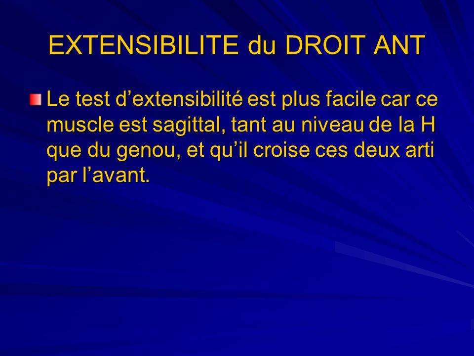 EXTENSIBILITE du DROIT ANT Le test dextensibilité est plus facile car ce muscle est sagittal, tant au niveau de la H que du genou, et quil croise ces