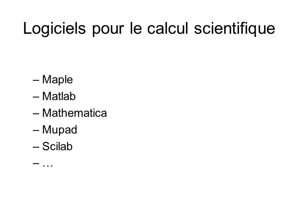 Logiciels pour le calcul scientifique –Maple –Matlab –Mathematica –Mupad –Scilab –…