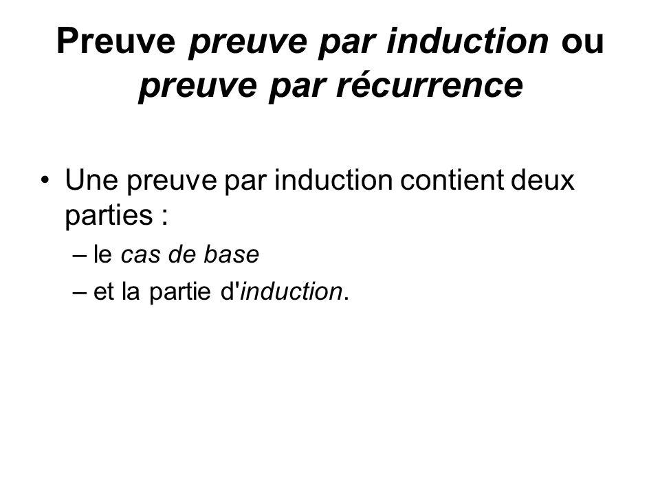 Preuve preuve par induction ou preuve par récurrence Une preuve par induction contient deux parties : –le cas de base –et la partie d'induction.