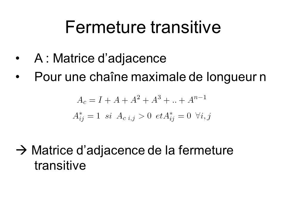 G(V,E) : (Matrice dadjacence A): –A i,k = 1 si (s i, s k ) E, A i,k = 0 sinon G*(V,E*) : Fermeture transitive de G (Matrice dadjacence A*) –A* i,k = 1 ssi il y a une chaîne de s i à s k.