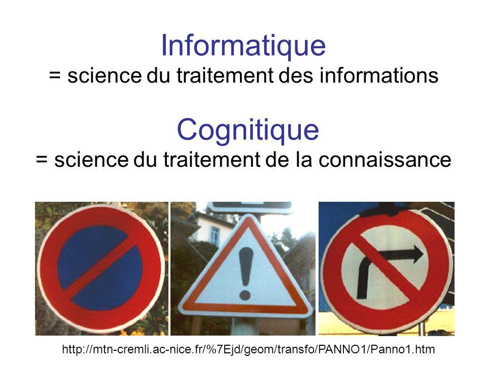 Informatique = science du traitement des informations = science du traitement de la connaissance Cognitique http://mtn-cremli.ac-nice.fr/%7Ejd/geom/tr