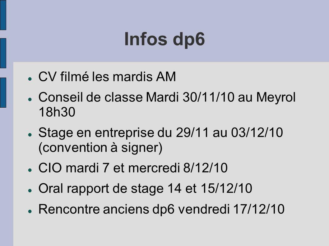 Infos dp6 CV filmé les mardis AM Conseil de classe Mardi 30/11/10 au Meyrol 18h30 Stage en entreprise du 29/11 au 03/12/10 (convention à signer) CIO mardi 7 et mercredi 8/12/10 Oral rapport de stage 14 et 15/12/10 Rencontre anciens dp6 vendredi 17/12/10