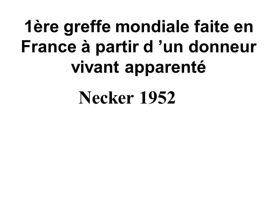 1ère greffe mondiale faite en France à partir d un donneur vivant apparenté Necker 1952