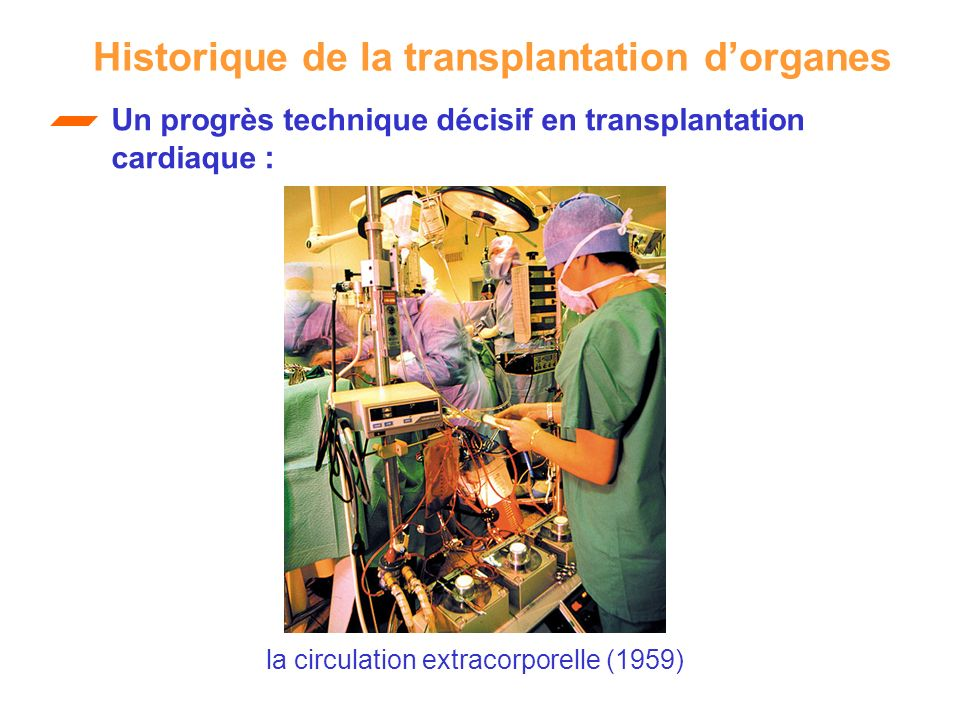 Un progrès technique décisif en transplantation cardiaque : Historique de la transplantation dorganes la circulation extracorporelle (1959)