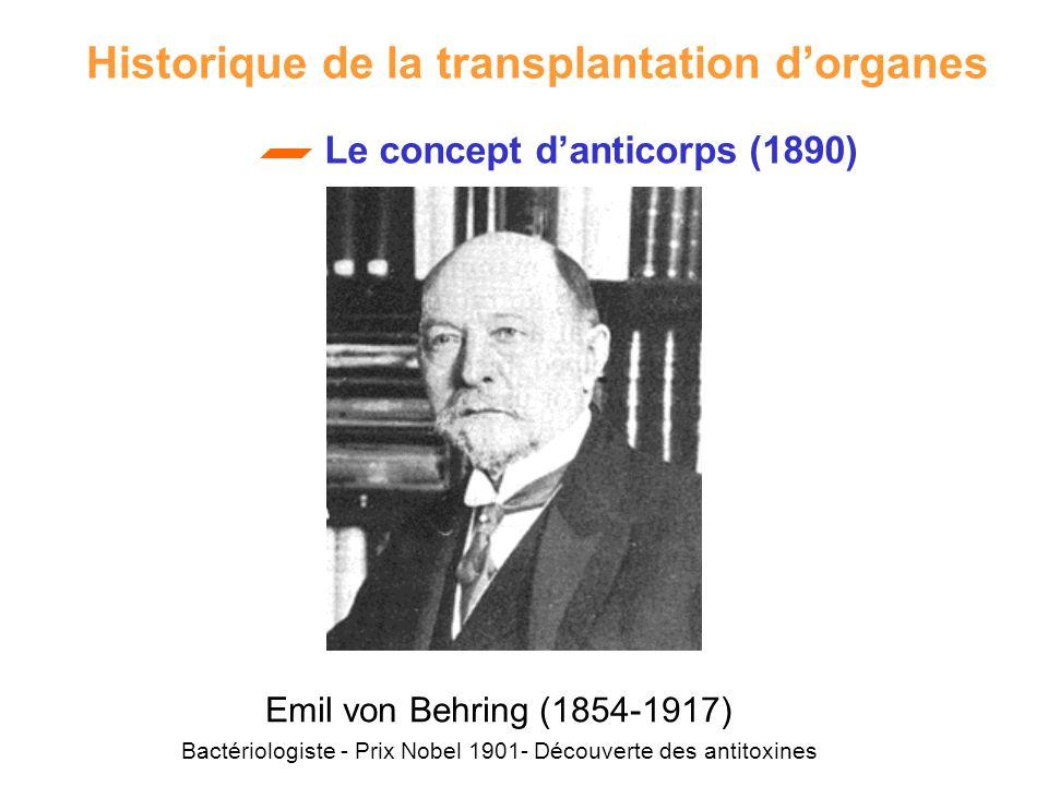 Le concept danticorps (1890) Emil von Behring (1854-1917) Bactériologiste - Prix Nobel 1901- Découverte des antitoxines Historique de la transplantati