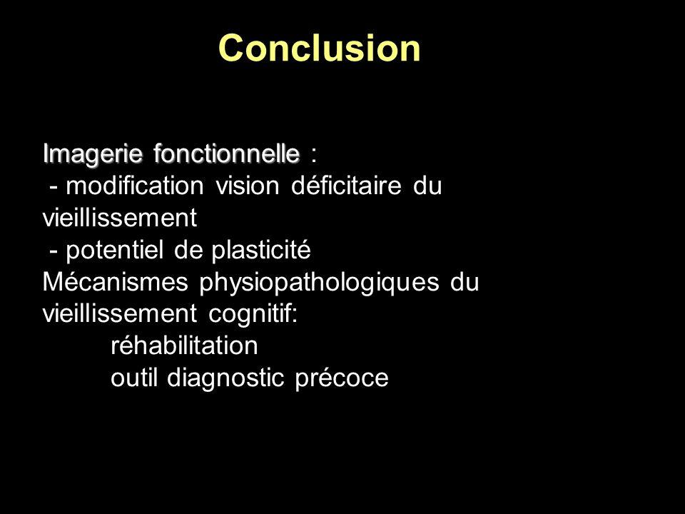 Conclusion Imagerie fonctionnelle Imagerie fonctionnelle : - modification vision déficitaire du vieillissement - potentiel de plasticité Mécanismes ph